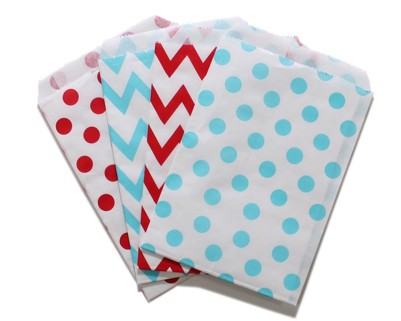Party Favor Bag Paper Favor Bags Red and Light Blue Polka image 0