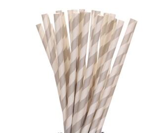 Paper Straws, Gray Striped Straws, Gray and White Paper Straws, Gray Wedding Straws, Silver Party Supplies, Vintage Straws, Gray Birthday