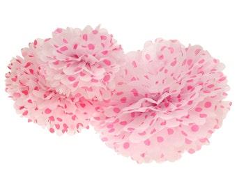 Pom Pom, Tissue Paper Pom Pom Ball, 3 piece set, Hot Pink Polka Dot Tissue Paper Pompoms, 1st Birthday Poms, Wedding Backdrop, Baby Shower