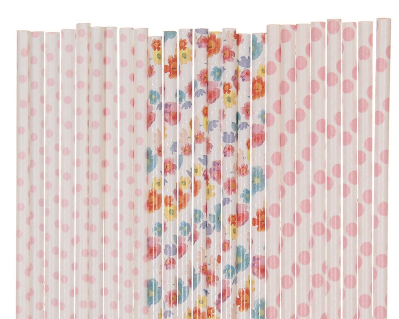 Paper Straw Mix Light Pink Floral Polka Dot Paper Straws image 0