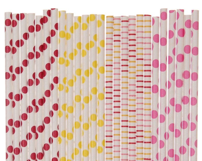 Paper Straw Mix Red Yellow Hot Pink Polka Dot Striped Paper image 0