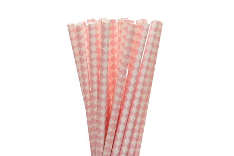 Paper Straws Light Pink Diamond Paper Straws Pink Baby image 0