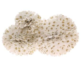 Pom Pom, bola de papel Pom Pom, 3 piezas set, oro lunares pompones de papel de tejido, Glam compromiso fiesta Pompom, boda escenario Pom Pom