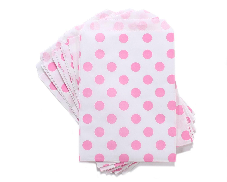 Party Favor Bag Paper Favor Bags Pink Polka Dot Paper Favor | Etsy