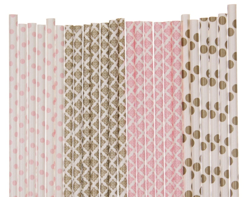 Paper Straw Mix Light Pink and Gold Polka Dot Damask Paper image 0