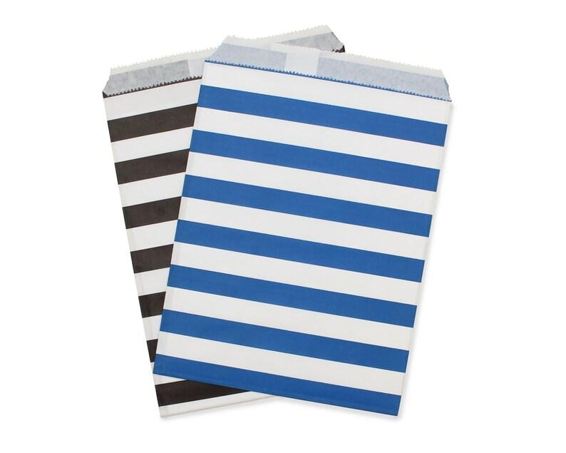 Party Favor Bag Paper Favor Bags Black & Dark Blue Rugby image 0