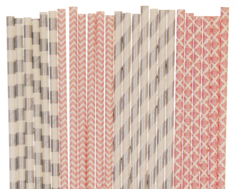 Paper Straw Mix Light Pink Silver Striped Chevron Damask image 0
