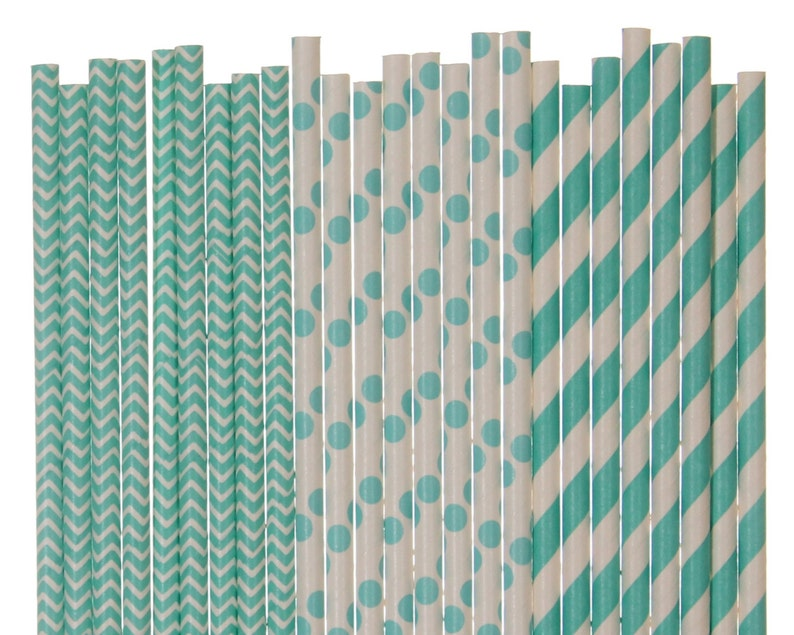 Paper Straw Mix Aqua Blue Chevron Polka Dot Striped Paper image 0