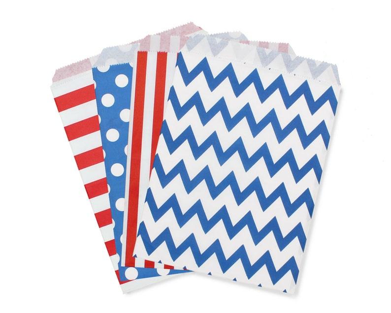 Party Favor Bag Paper Favor Bags Dark Blue and Red Polka Dot image 0