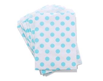Party Favor Bag, Paper Favor Bags, Light Blue Polka Dot Paper Favor Bags, Gender Reveal Favor Bag, Baby Shower Favor Bag, 1st Birthday Party