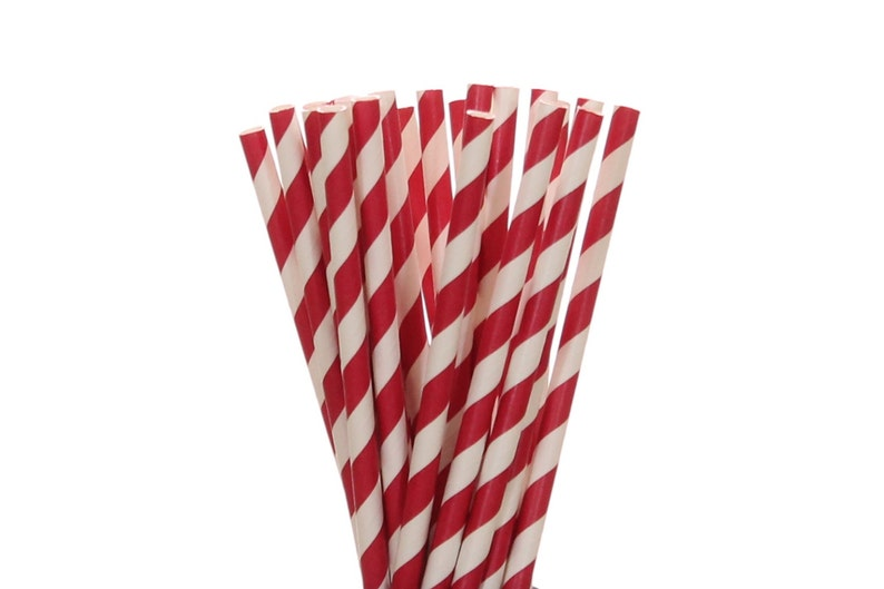 Paper Straws Red Striped Paper Straws Red Christmas Paper image 0