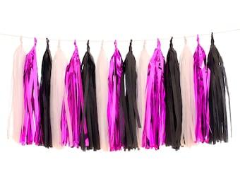 Tissue Paper Tassels, White, Pink Foil and Black Tassel Garland, Glam Bachelorette Party, Bridal Shower Photo Backdrop Decor, Rockstar Party