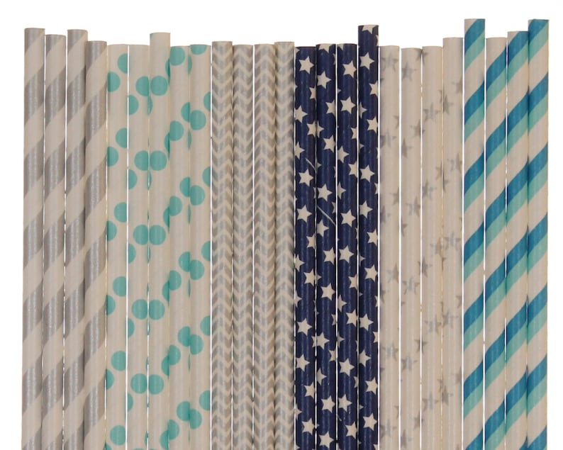 Paper Straw Mix Aqua Blue Dark Blue and Silver Paper Straws image 0