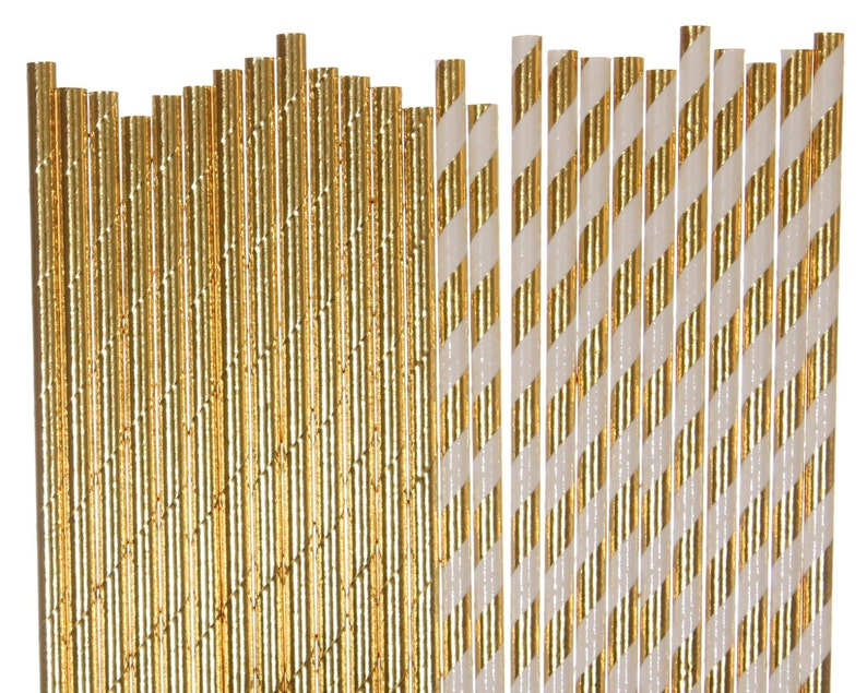 Paper Straw Mix Gold Foil Solid and Striped Paper Straws image 0