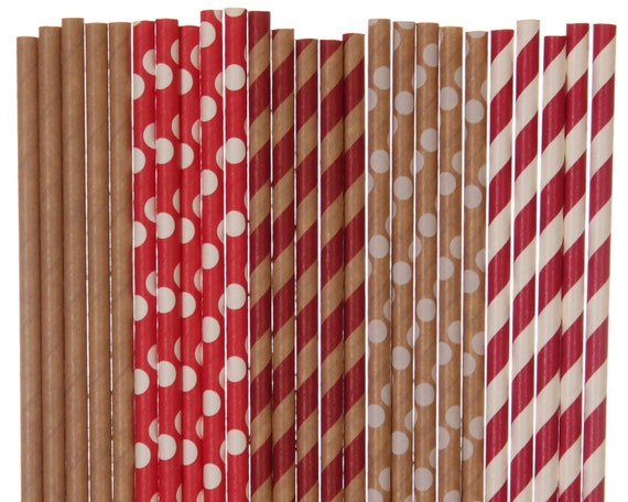 paper straw mix red and kraft paper straws rustic red etsy