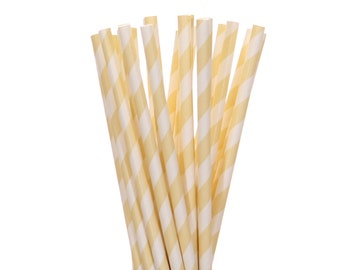 Paper Straws, Cream Striped Straws, Cream and White Paper Straw, Shabby Chic Party Decor, Glam Paper Straw, Engagement Party Supplies, Straw