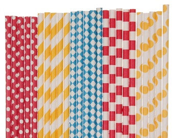 Paper Straw Mix, Circus Red Yellow Blue Polka Dot Striped Diamond Paper Straws Carnival 1st Birthday Party Supplies Retro Circus Party Straw
