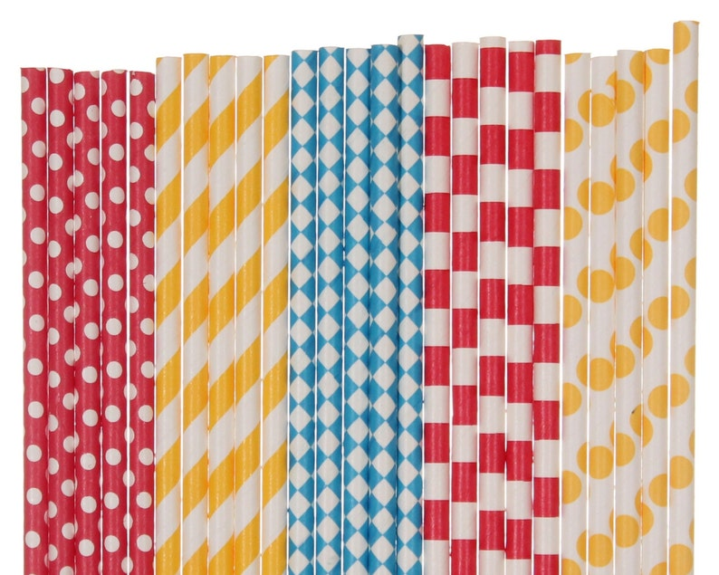 Paper Straw Mix Circus Red Yellow Blue Polka Dot Striped image 0