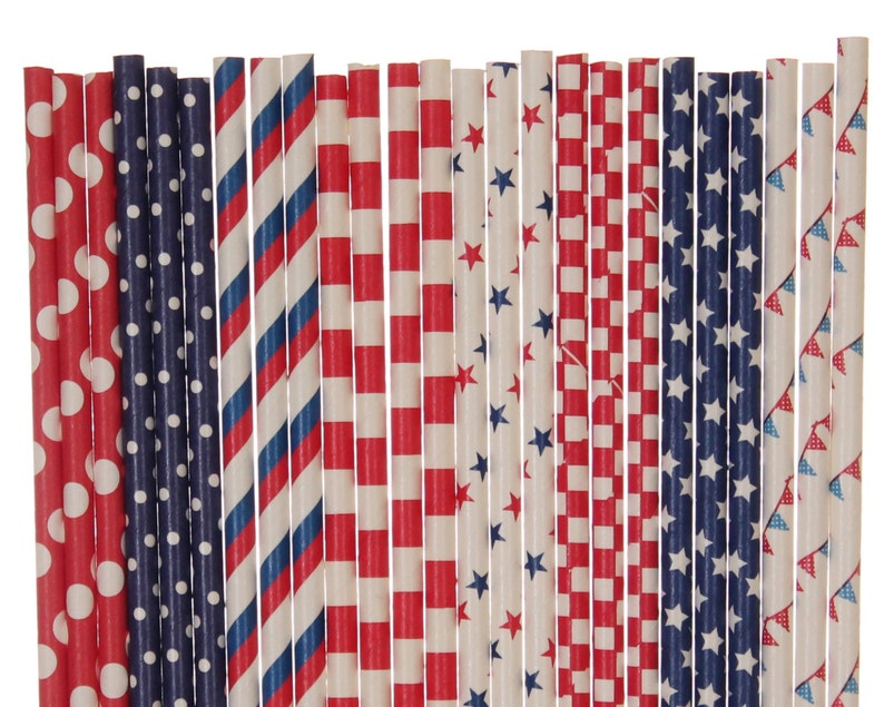 Paper Straw Mix Patriotic Paper Straws Red Navy Blue White image 0