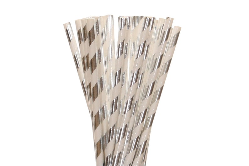 Paper Straws Silver Foil Striped Paper Straws Silver Sweet image 0
