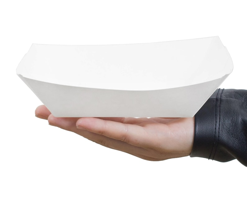 Paper Food Tray Medium 2 lbs White Paper Tray Snack Boxes image 0