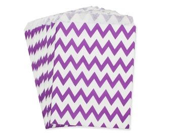 Party Favor Bag, Paper Favor Bags, Purple Chevron Favor Bags, Plum Wedding Favor Bags, Bridal Shower Brunch Favor Bag, Baby Shower Favor Bag