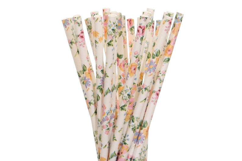 Paper Straws White Floral Paper Straws Garden Party Decor image 0