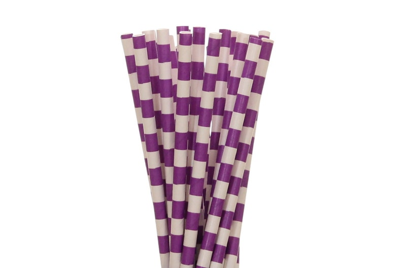 Paper Straws Purple Rugby Horizontal Striped Paper Straws image 0