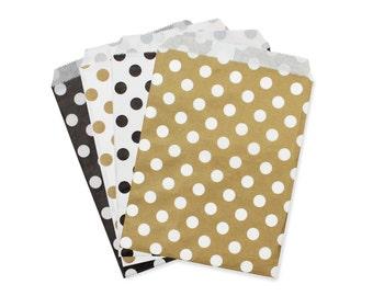 Party Favor Bag, Paper Favor Bags, Gold and Black Polka Dot Paper Favor Bags, Glam Wedding Favor Paper Bags, Gold Bridal Shower Favor Bags