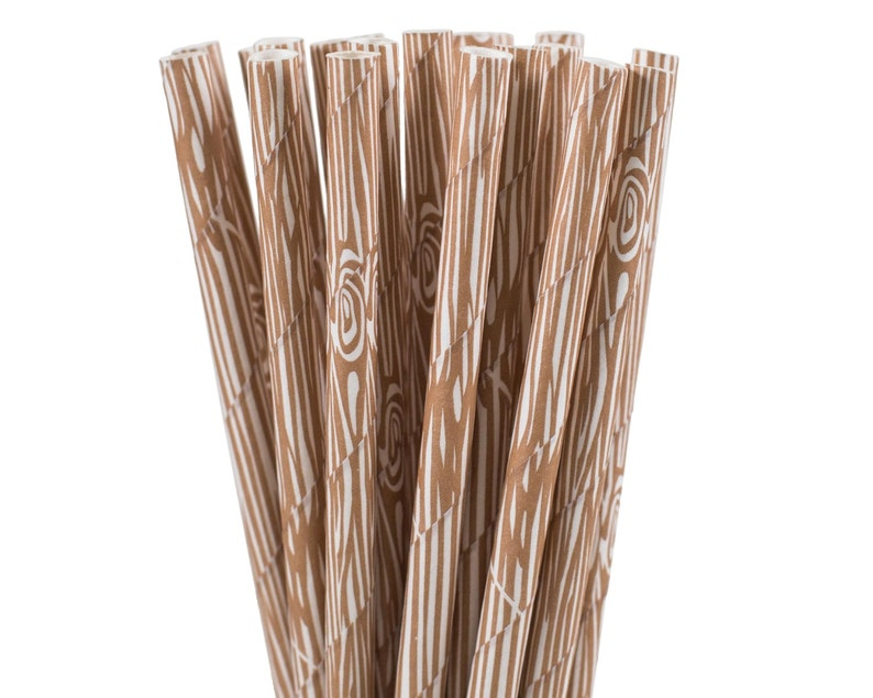 Paper Straws Wood Grain Paper Straws Woodland Party image 0
