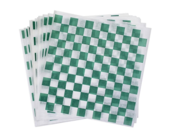 St Patrick/'s Day Food Wraps Food Box Liner 12 x 12 Checkered Sandwich Wrap Green and White Check Deli Wrap Christmas Picnic Wax Paper