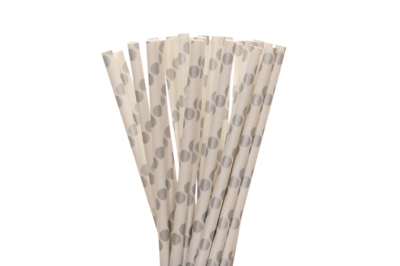 Paper Straws Silver Polka Dot Paper Straws Silver Sweet 16 image 0