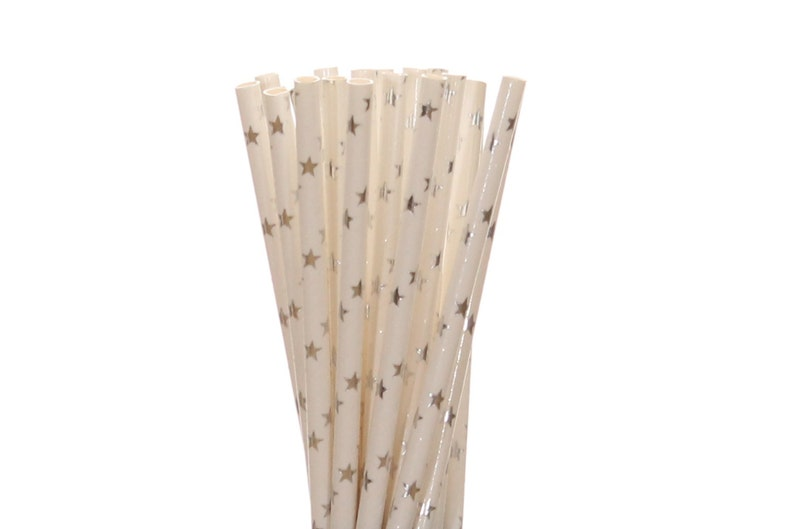Paper Straws Silver Foil Star Paper Straws Silver Sweet 16 image 0