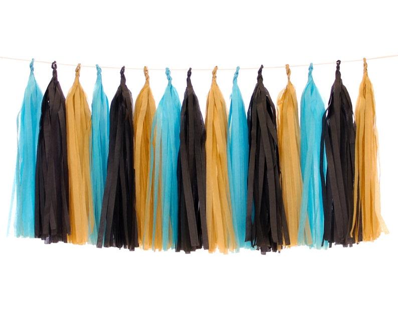 Tissue Paper Tassels Blue Black and Tan Tassel Garland image 0