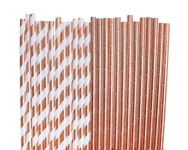 Rose Gold Paper Straws Rose Gold Bridal Shower 1st Birthday image 0