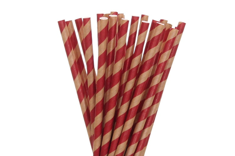 Paper Straws Kraft Paper and Red Striped Paper Straws Rustic image 0