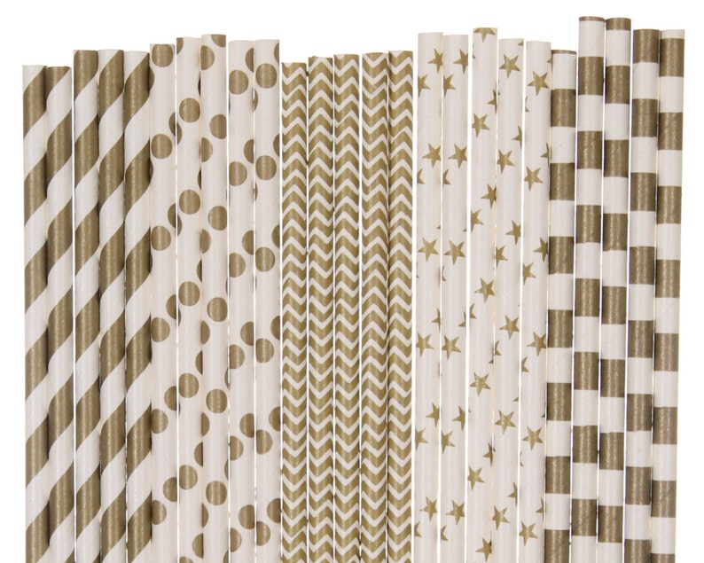 Paper Straw Mix Gold Striped Polka Dot Chevron Star Paper image 0