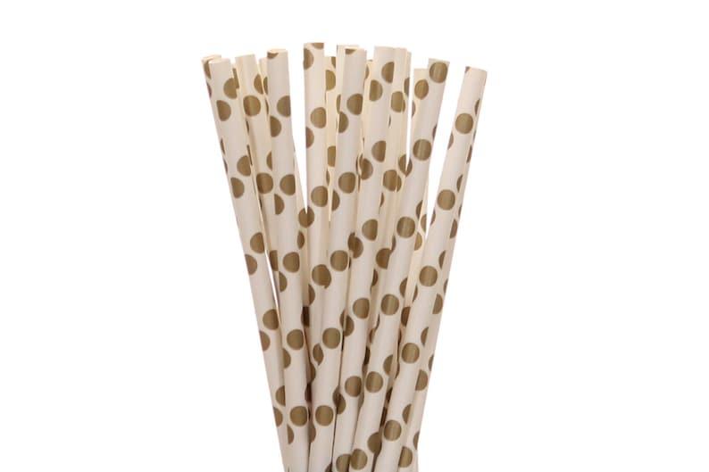 Paper Straws Gold Polka Dot Paper Straws Glam Bridal Shower image 0