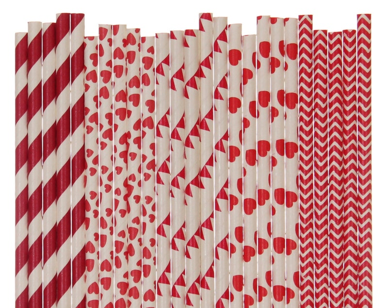 Paper Straw Mix Red Valentines Day Striped Heart Pennant image 0