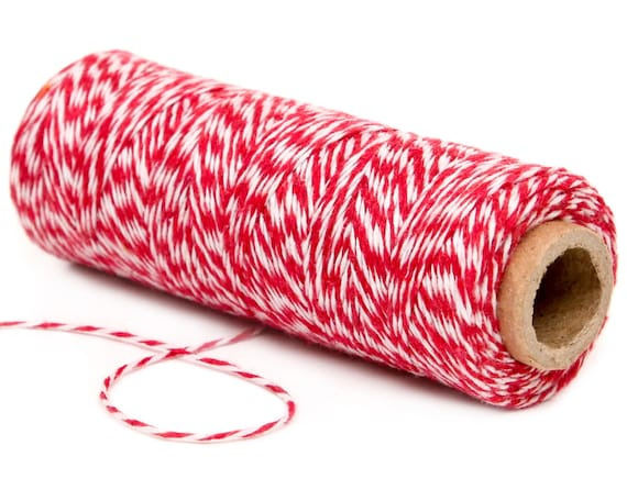 100/% Cotton 4PLY Bakers Twine 100 yard spool Red White