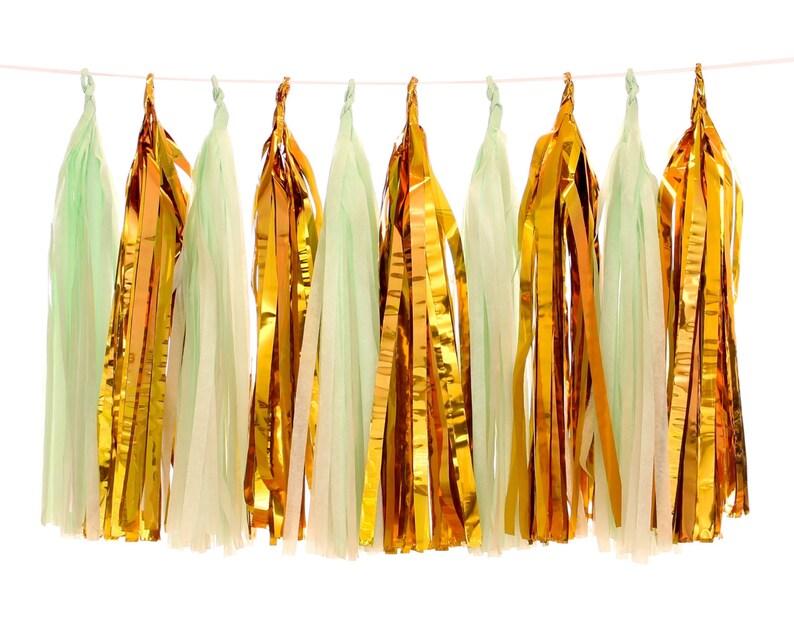 Tissue Paper Tassels Mint and Gold Foil Tassel Garland Glam image 0