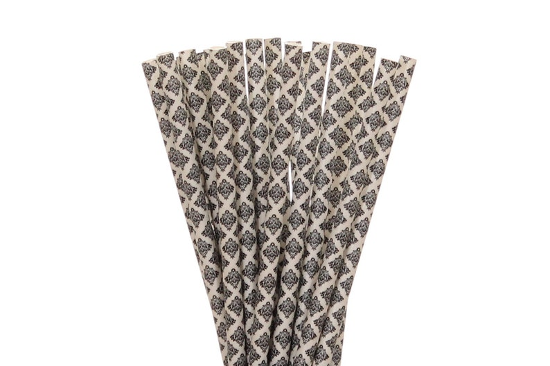 Paper Straws Black Damask Paper Straws Black and White Party image 0
