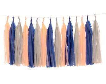 Tissue Paper Tassels, Navy, Peach and Gray Tassel Garland, Baby Shower Decor, First Birthday Party, Wedding Photo Backdrop, Bridal Shower