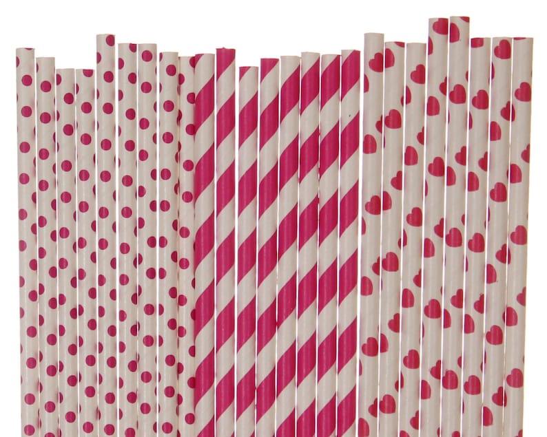 Paper Straw Mix Dark Pink Valentines Day Polka Dot Striped image 0