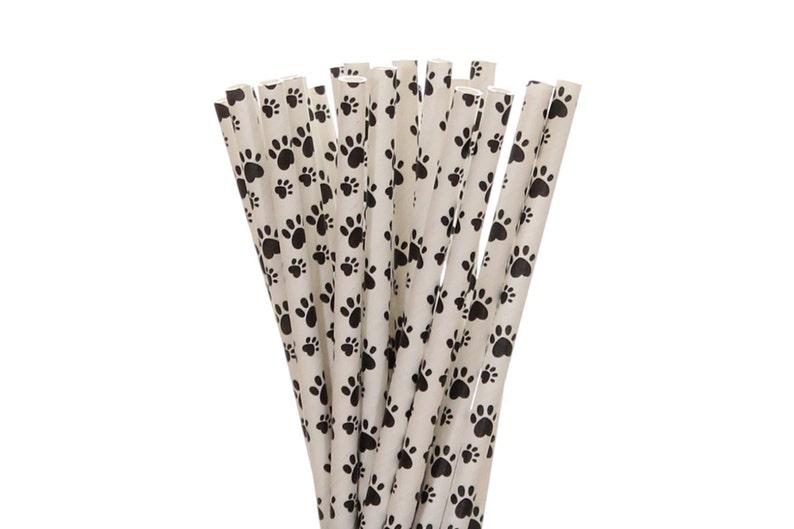 Paper Straws Paw Print Paper Straws Puppy Adoption Party image 0