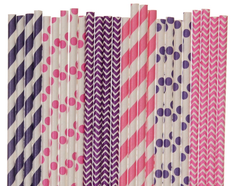Paper Straw Mix Purple and Hot Pink Paper Straws Sweet 16 image 0