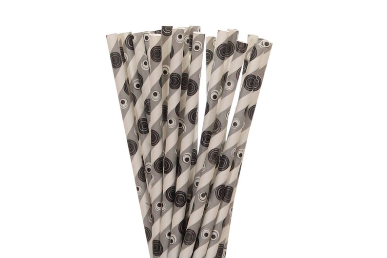 Paper Straws Gray with Black and White Polka Dot Paper image 0