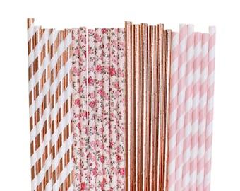 Rose Gold and Blush Bridal Shower Paper Straws, Pink floral baby shower, rose Gold 1st birthday, Glam Tea Party gold blush boho bachelorette