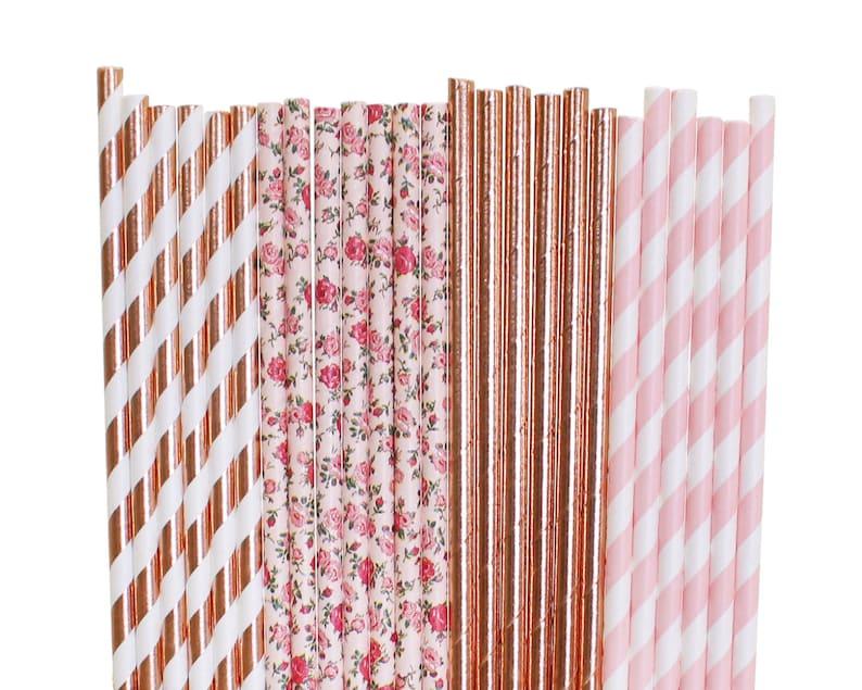 Rose Gold and Blush Bridal Shower Paper Straws Pink floral image 0