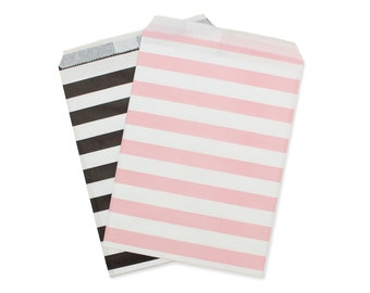 Party Favor Bag, Paper Favor Bags, Black & Light Pink Rugby Striped Paper Favor Bags, Pink 1st Birthday, Baby Shower Favor, Princess Party